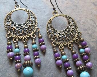 Gemstone Chandelier Earrings ~ Bohemian Style Jewelry - Purple & Turquoise Stones