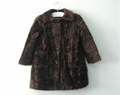 Vintage Children's 50s faux fur coat / fuzzy faux bear fur long coat / winter woodland child's coat
