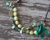 Olive Green Necklace - Multi Strand Necklace - Knotted Necklace - Leather Jewelry - Boho Green Jewelry - Bead Soup Jewelry