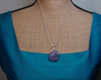 Natural Large Amethyst Solid 925 Sterling Silver Encrested Gemstone, and Silver Snake Chain