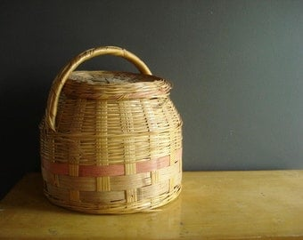 Vintage Round Storage Basket with Lid and Handle - Colorful Woven Basket