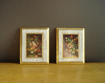 Ornate Floral Plaques - Pair of Vintage Floral and Gold Illusrations - Made in Italy