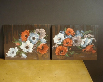 Poppy Pop of Color - Vintage Paint by Number Pair - Two Paint-by-Number Still Lifes - Poppies Paintings