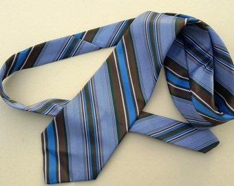 70s Necktie / Vintage Necktie /Vintage Tie / 70s Tie / Wide Tie / Blue Tie by Superba Inc. with Diagonal Stripes in Blue Green Gold & White