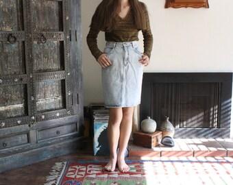 80s / 90s  acid wash high waisted denim skirt