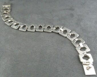 Taxco Sterling Silver Link Bracelet Signed Hinged