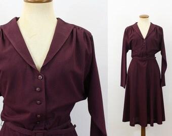 1980s Dress V Neck Merlot Dolman Fit Flare Skirt Belted Button Bodice Semi Sheer Middy Long Sleeve Wine Vintage 80s Boho Shirtdress Medium