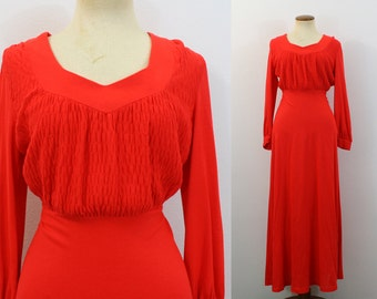 RED Maxi Dress 1970s Babydoll Empire Waist Smocked Top Sweetheart Long Sleeve Jersey Boho Tie Belt Vintage 70s Festival Hostess Gown Small