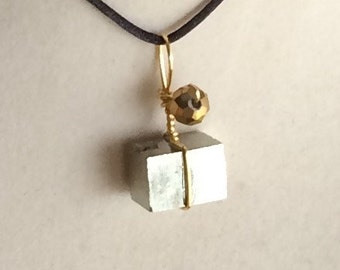 Wire Wrapped Pyrite Cube Pendant