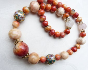 Antique Chinese Apple coral necklace with antique Carved Shou Rose Quartz Beads, Statement necklace, OOAK