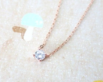 Simple Diamond Drop necklace - Rose Gold necklace, cubic zirconia pendant , crystal, chic, pretty, dainty