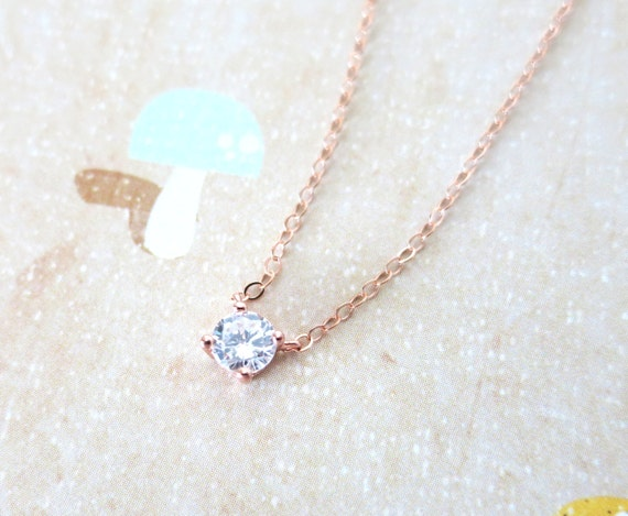 Simple Diamond Drop necklace Rose Gold necklace cubic