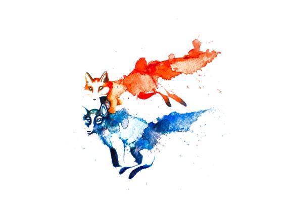 minimalist watercolor print: Sauvages