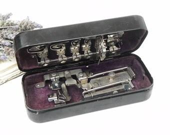 Antique Vintage Treadle sewing Machine Attachments in Metal Box Greist 1891