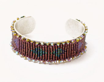 Pink Bead Loomed Cuff