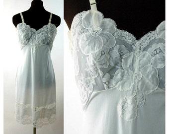 1950s slip lace illusion ivory nylon Shadowline full slip floral lace Size 34 Medium