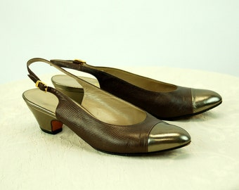 Ferragamo shoes slingback spectator shoes bronze metallic leather Size 7.5