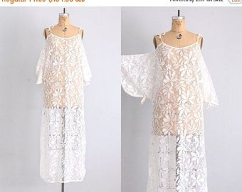 45% OFF SALE.... morning after • 1970s lace dress • lace nightgown • coverup