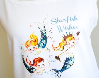 Ladies Mermaid Tanktop - Starfish Wishes - Retro Girl - Vintage Mermaid - Beach Wear, Nautical