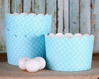 Jumbo Blue Baking Cups, Large Muffin Cups, Light Blue Dessert Cups, Cupcake Cups, Blue Baking Cups, Wedding Favor Cups, Popcorn Cups (12)