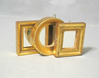 Vintage 3 Small Wall Mirrors in Distressed Gold Wood Frame / Rustic Glam Shabby Chic Wooden Frame Round Square Rectangle Hand Made in Italy