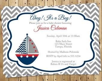 Nautical, Baby Shower, Invitations, Boy, Navy, Red, Gray, Sailboat, Chevron, Stripes, Anchor's Away, Ahoy, 10 Printed Invites, FREE Shipping