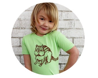 Chipmunk T Shirt, Youth Cotton Crewneck, Key Lime Green, Toddler Tshirt, Woodland Animal, Nature, Outdoors