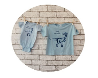 Big Brother Little Brother Dinosaur Tshirts,  Set Light Blue, Cotton, Big Sister, Little Sister, Short Sleeve Children's Clothing, raptor