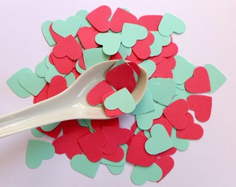 100 wedding hearts - turquoise and coral textured paper hearts confetti - die cut hearts for a summer wedding - one inch