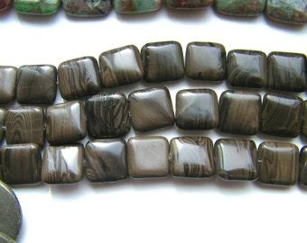 "Brown Malachite 15"" strand 26 beads"
