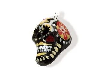 Yellow, White, & Black Day of the Dead Skull, Charm, Ornament, Keychain, Original Design, Handmade, Acrylic, Clay Ornaments