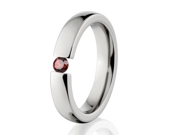 Tension Set- Garnet Stone- Ring-Uniquely You-   4HR-P-Tension-Garnet