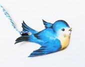 Bluebird Gift Tags - Set of 3 - Retro Bluebirds - Bird Shape Tags - Mid Century Bird - Thank Yous - Nature Tags - Vintage Bluebirds -