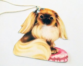 Fancy Pekingese Tags - Set Of 3 - Pekingese Tags - Gift Tags - Thank Yous - Dog Tags - Vintage Dog - Pet Tags - Dog Lover Tags - Dog Tag