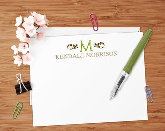 Open Initial Monogram - Set of 8 CUSTOM Personalized Flat Note Cards/ Stationery