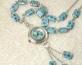 Watch Pendant Necklace, Women's Necklace Watch, Turquoise Czech Glass Beaded Watch Clock