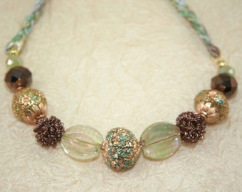 Chunky Bead Bib Necklace, Big Bead Braided Necklace, Aqua Brown and Gold Large Beaded Statement Necklace