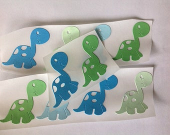 Large Paper Dinosaur Stickers Blues and Greens 15 pc