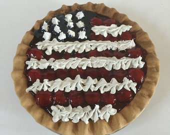 American Flag Red White and Blue Farmhouse Fake Pie - Patriotic Berry Pie