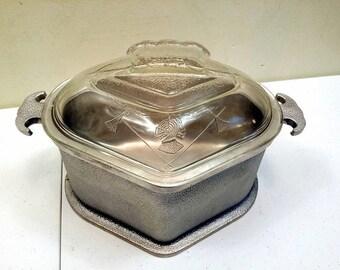 1930s Medieval Design Heavy Aluminum Lidded Cookware
