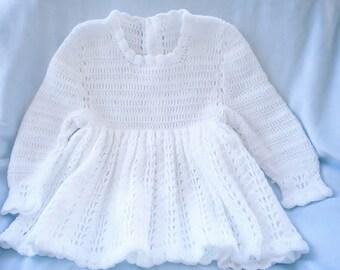 Crochet Infant Dress Christening Flower Girl Baby Girl White Dress 6 9 mo
