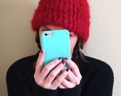 Hand Knitted Beanie Hat Acrylic Wool Blend Sparkly Red
