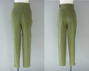 Highwaisted kakhi trousers   ribbed cotton highwaisted pants   1990's by cubevintage   small