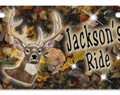 "Buck Camouflage Custom Design Motorcycle Size License Plate Any Text-Name Personalize Gifts 4"" x 7"" Bikes Trikes ATV Deer Camo Hunting"