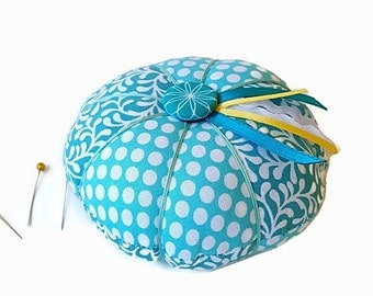 Turquoise Pin Cushion - Turquoise and White Pincushion - Sewing Accessory - Needlecrafting - Needle Holder - Sewing Pin Holder