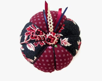 Pin Cushion - Cranberry Red Navy Blue Pincushion - Sewing Accessory - Needlecrafting - Needle Holder - Sewing Pin Holder