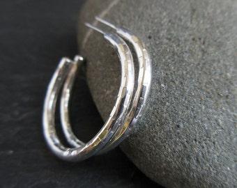 Sterling silver hoop earrings, silver hoops, hoops with posts, metalwork jewelry, bright silver, hammered texture hoops, minimalist earrings