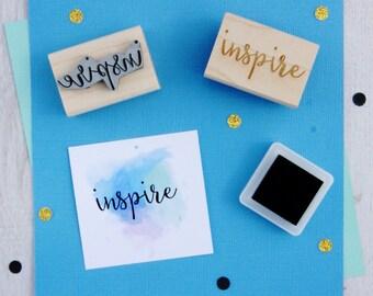 Inspire Sentiment Text Rubber Stamp - Inspiration Stamper - Script Style Font - Card Making - Scrapbooking - Motivate - Motivational