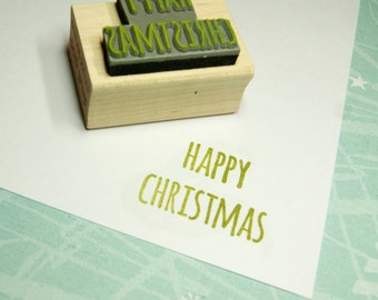 Happy Christmas Rubber Stamp - Skinny Font Sentiment Text Small Rubber Stamp - Scrapbooking - Festive Stamper - Christmas Card Making