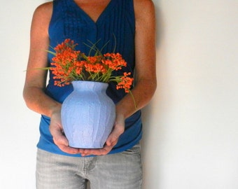 Hydrangea Blue Vase / Blue Home Decor / flower vase / smoky blue - purple vase